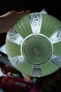 VTG NOS Frosted Green & Clear Wheat Shade WITHOUT Flush Ceiling Fixture