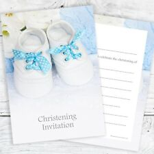 Boys Christening Invitations - Blue - Ready to Write with Envelopes (Pack 10)