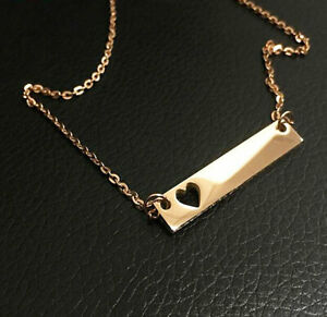 18K Yellow Gold Custom Engrave Bar Necklaces for Women with cutout heart symbol