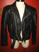 New Age Col Vtg Heavy Black Leather Motorcycle Negan Walking Dead Jacket 44 EUC