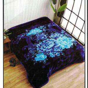 Korean Blanket Mink Heavy 11 Lbs Queen & King Size Thick Warm Plush Soft Blue