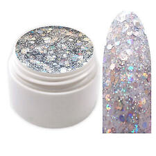 Exclusive Glamour Glitter Farbgel Silber UV Gel 5ml Made in Germany EG-534