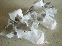 Baby Girls White Silver Satin Christening Wedding Frilly Socks  ** HANDMADE **