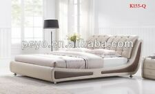 NEW ITALIAN DESIGNED QUEEN SIZE BROWN & BEIGE PU LEATHER BED FRAME