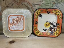 8 Sealed Vintage 1940's Reed's Halloween Paper Party Plates Black Cats, Pumpkin