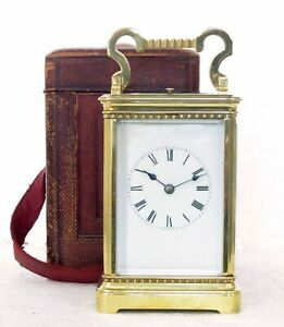 LARGE ANTIQUE FRENCH BRASS STRIKING & REPEATING CARRIAGE CLOCK & FITTED CASE