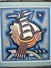 Vtg Judaica Signed Painting Oil/Canvas, Noah's Ark Rainbow & Doves, 70 x 64.5 cm