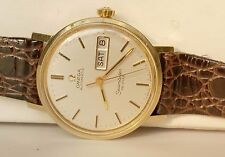 Men 14K Solid Gold Omega Seamaster Automatic Day Date Wrist Watch Runs #96-11