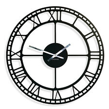 Large wall clock Vintage, metal, silent, non ticking, roman, novelty, office