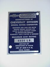 1954 1955 1st Series NEW Identification Door Post Plate for Chevy 1/2 Truck Only