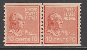 US Sc 847 MNH. 1939 10c brown red John Tyler Joint Line Pair, F-VF