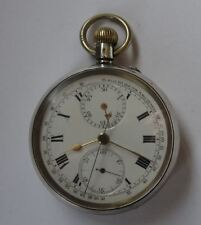 SILVER CENTRE SECONDS SWISS CHRONOGRAPH POCKET WATCH, MPH FROM 1/4 MILE DISTANCE