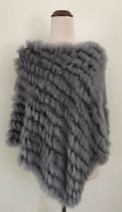 Grey Rabbit Fur Poncho
