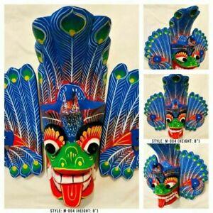 "Perfect Gift Home Decor Sri Lankan Peacock Wooden Wall Art Mask Sculpture 8"""