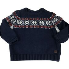 Janie and Jack Toddler Boy Blue Fair Isle Sweater Size 4 Navy Red White Pullover