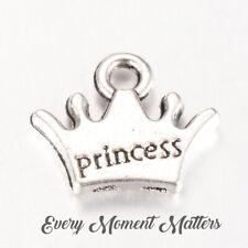 Antique Silver CROWN Princess Tiara Royal alloy Charms Pendant Bead Craft Card