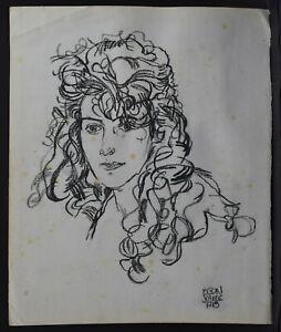 EGON SCHIELE - PAINTING & DRAWING, CHARCOAL ON OLD PAPER, SIGNED, VTG, ARTWORK