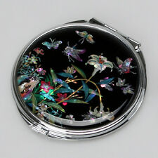 Mother of Pearl Lily Flower Design Compact Makeup Cosmetic Black Handmade Mirror