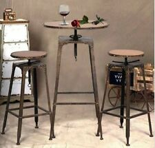 Bistro Set Indoor 3 pcs Table Chair Stools Bar Height Industrial Antique Vintage