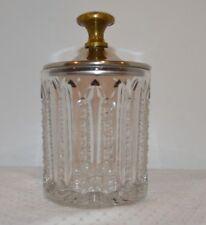 "Vintage CUT GLASS Tobacco Dresser Jar Chrome Bronze Lid Heavy, 6"" Tall"