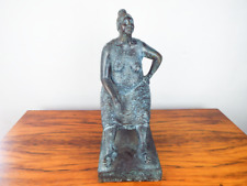 Vintage Bronze Sculpture Of Seated Lady Carlos Aguirre Ltd Ed 4/8 Mexican Signed
