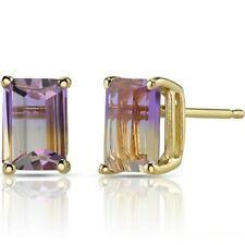 1.88 ct Emerald Cut Ametrine Stud Earrings in 14K Yellow Gold