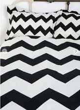3pc Set Teen Black & White Coastal Queen Duvet Doona Bed 100% Cotton Quilt Cover