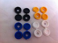 8 Pack Plastic Nylon Hinged Screw Cover Caps Flip Tops White Black Yellow Blue