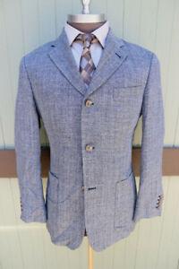 Bullock & Jones San Francisco Gray Three Button Silk Linen Wool Blazer SZ M