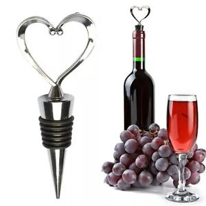 Heart Shaped pWine Champagne Wine Bottle Stopper Valentines Wedding Gifts Set