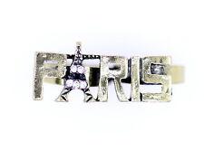 Vintage rétro style réglable bronze PARIS tour Eiffel bague double doigts