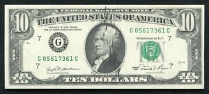 """1981 $10 FRN FEDERAL RESERVE NOTE """"INK SMEAR ERROR ON FRONT"""" UNCIRCULATED"""