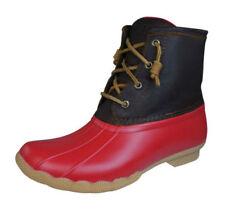 Scarpe da donna rosso in gomma con cerniera