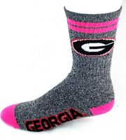 Georgia Bulldogs NCAA Heather Gray Pink 2 Stripe Crew Socks