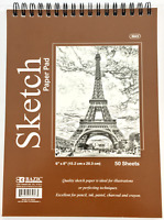 "6"" x 8"" Spiral Premium Quality Sketch Book Drawing Paper Pad 50 Sheets"