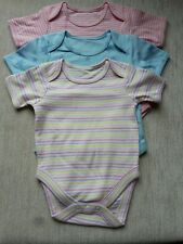 SET OF 3 BABY GIRLS COTTON BODY SUIT VESTS. 9-12 MTHS. BNWOT