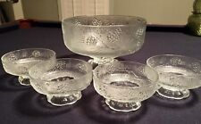 Tiara Ponderosa Pine Clear Salad / Ice cream Bowl 5-pc Set. 1) Large 4) Small