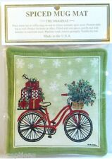 Alice's Cottage Cotton Scented Spiced Mug Mat Coaster Holiday Bicycle - NEW