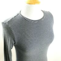 Polo Ralph Lauren Womens Striped Top Sz M Navy Long Sleeve Stretch Pullover