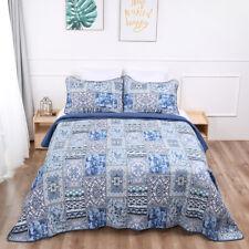 Blue Stripe 3 PCS Coverlet Modern Patchwork Bedspread Quilt 100 Cotton Bedding