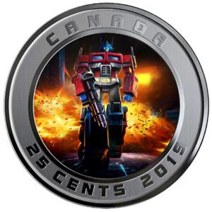 🇨🇦 Canada 25 cents quarter colored Coin, Transformers - Optimus Prime, 2019