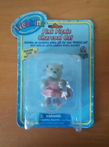 Ganz Webkinz Pink Picnic Charcoal Cat with Unused Code
