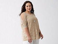 Lane Bryant Metallic Cold Shoulder Sweater Top Gold Oatmeal Plus 26/28 4X NWT