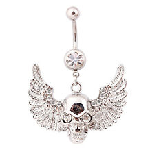 SKULL ANGEL BELLY BAR Crystal Rhinestone Eyes Wings Dangle Steel Navel Piercing