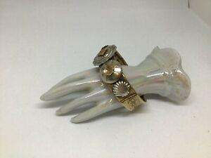 Vintage Etched Bangle Bracelet Gold Silver Tone Southwest Concho Estate Find