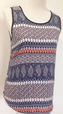 Ladies Top Multi-Coloured Geometric Patterned Top Sz 10 Au Temt GUC-VGUC