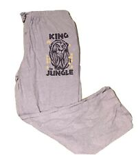 Men's Sleep Pants, Grey Soft Fabric Features Lion King Sz XX-Large 44-46