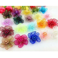 10pcs Upick Organza Ribbon Flower Bows w/ Beads Appliques Craft Wedding Decor