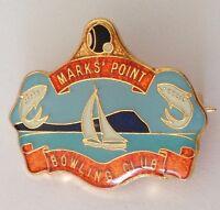Marks Point Bowling Club Badge Pin Vintage Bowls Sailing Fishing Design (L31)