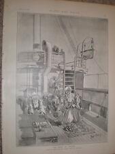 La hora de oración Rene Bull musulmanes rezando a bordo 1897 antiguos impresión mi ref L